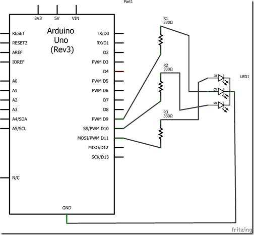 Arduino-RGB LED Common Cathode - Schematic